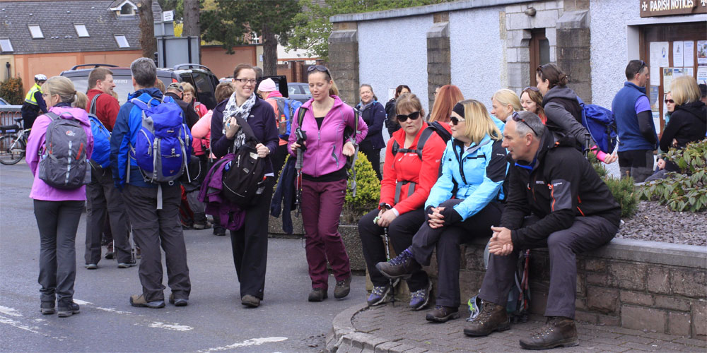 Group of walkers waiting to start the 2016 Guided walk in St. John's parish Church in Castle Street, Tralee.